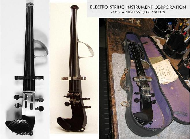 collage of Electro Violins and title from original Electro String Instrument Corp ad, by Ben Heaney