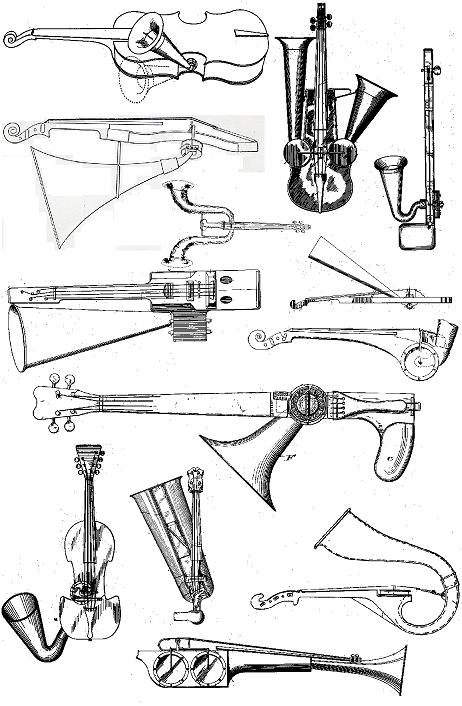 picture collage of various horn violins, 1904-1949